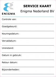Enigma Servicekaart sticker 110 x 150mm 001-01